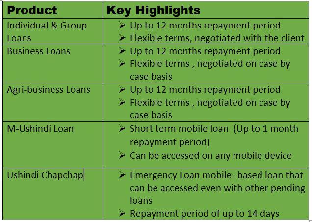 Ushindi bora loan products